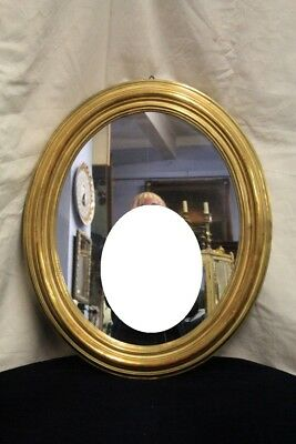Mirror Oval, Period Nineteenth Century, Wood Frame Paint And Golden