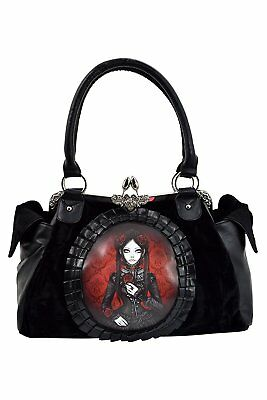 Restyle Gothic Lolita Black Velvet Red Doll Cameo Kiss Lock Vintage Style purse