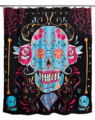 Too Fast Gothic Punk Rock Calavera Sugar Skull Shower Curtain