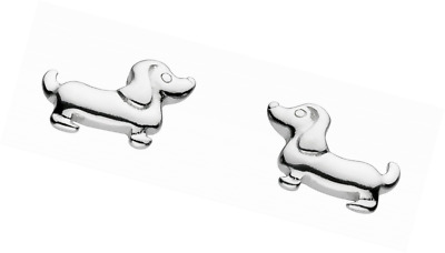 Dew Sterling Silver Sausage Dog Stud Earrings 4860HP kLAppZHm