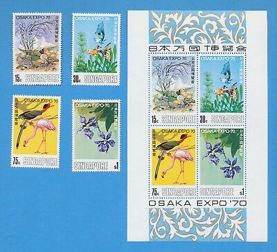 SINGAPORE - scott 112-115 & 115a - VFMNH set & S/S - OSAKA EXPO '70 bird flower