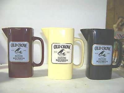 Jim Beam Brands 3 Old Crow Whiskey pitchers By Wade China Black-Yellow-Maroon