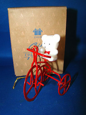 Avon Teddy Bear on Trike  Gift Collection Ornament  New in the Box Christmas @26