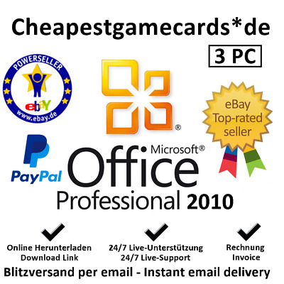 Microsoft Office 2010 Professional Plus MS Office PRO 3 PC product key per email