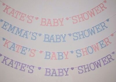 Personalised Baby Shower Bunting boy girl pastel pink blue lilac decorations