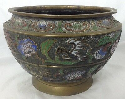 Antique Early 19C Chinese Cloisonne Bronze Large Pot W / Flower And Bird