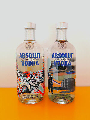2 Flaschen Absolut Vodka BLANK EDITION WAGNER / KINSEY 700ml