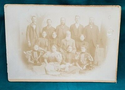 "Antique Photograph J.H. Farmer Late 1800's Family of 13 Approx 10"" x 7"" Sepia"