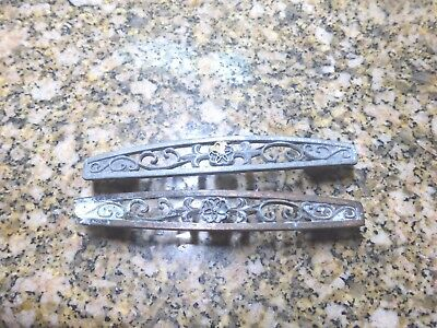 2 Vintage Mid Century Door Pulls Handle Silver Or Copper Floral