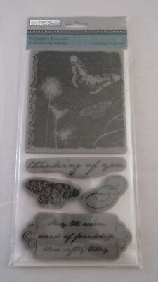NIP TPC Studio Rubber  Cling Stamps Butterfly Collage