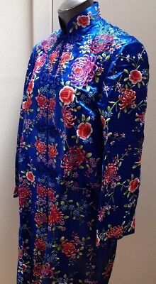 """Vtg CHINESE Robe Coat Embroidered Flowers Blue Silk Lined """"PLUM BLOSSOM"""" Size 36"""