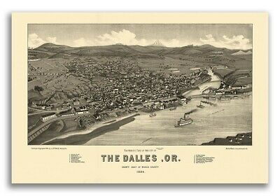 1884 The Dalles Oregon Vintage Old Panoramic City Map - 16x24