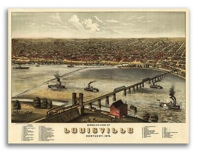1876 Louisville KY Vintage Old Panoramic City Map - 20x28