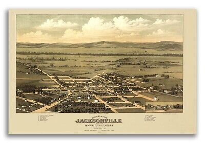 Bird/'s Eye View 1876 Jacksonville Florida Vintage Style City Map 20x28