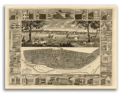 St. Louis MO 1848 Historic Panoramic Town Map - 18x24