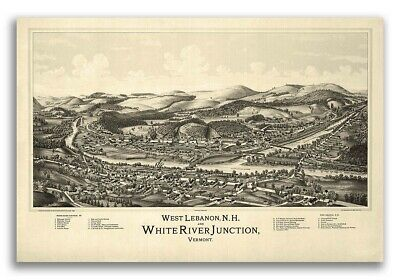 1889 West Lebanon New Hampshire Vintage Old Panoramic City Map - 16x24