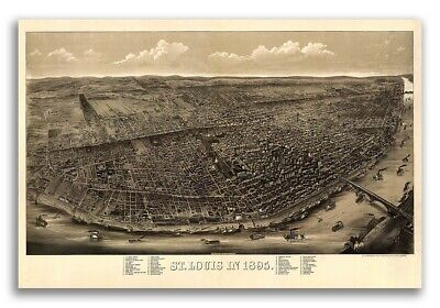 1895 St. Louis Missouri Vintage Old Panoramic City Map - 24x36