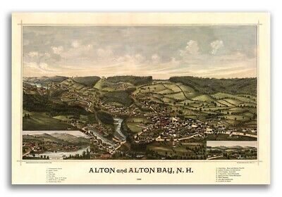1888 Alton New Hampshire Vintage Old Panoramic City Map - 16x24