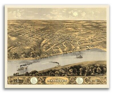 1869 Lexington MO Vintage Old Panoramic City Map - 20x24