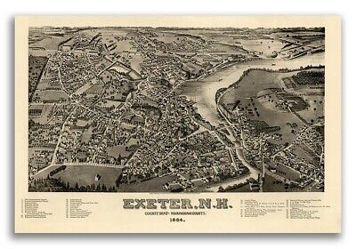 Bird's Eye View 1884 Exeter New Hampshire Vintage Style City Map - 16x24