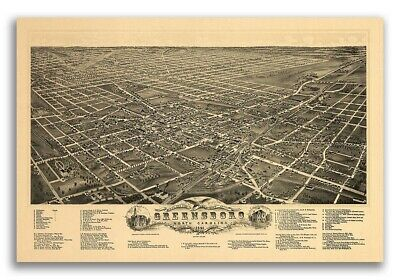 Greensboro North Carolina 1891 Historic Panoramic Town Map - 20x30