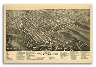 20x30 1891 Durham NC Vintage Old Panoramic City Map