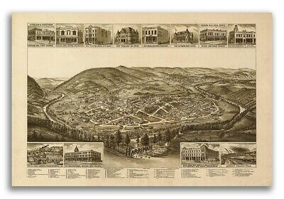 1892 Harriman Tennessee Vintage Old Panoramic City Map - 20x30