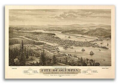1879 Olympia WA Vintage Old Panoramic City Map - 20x30