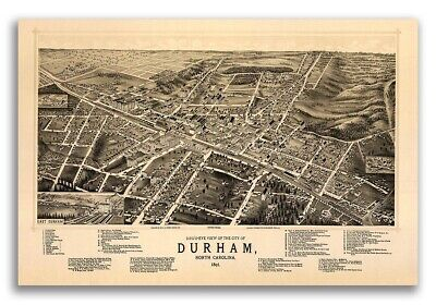 1891 Durham NC Vintage Old Panoramic City Map - 20x30