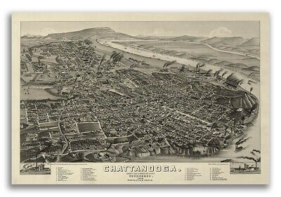 1886 Chattanooga Tennessee Vintage Old Panoramic City Map - 16x24