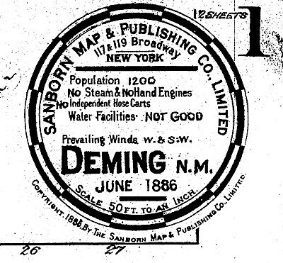 Deming, New Mexico~Sanborn Map© sheets~ 1889, 1893, 1898, 1902, 1921 on CD