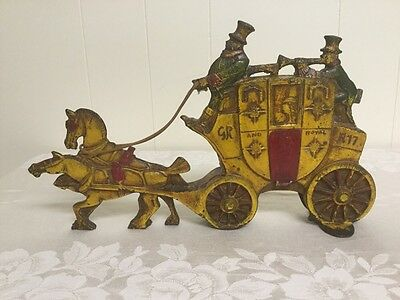 ANTIQUE CAST IRON ART DECO DOOR STOP LONDON ROYAL MAIL STAGECOACH with HORSES