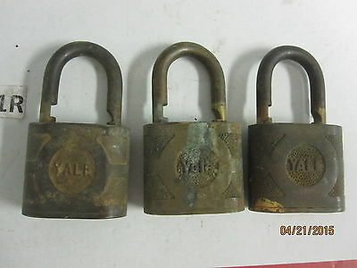 Antique Lot of 3 Brass Yale Locks  Eaton Yale & Towne  Inc