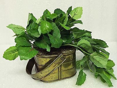 Vintage Brass Planter - Made in India - Small Square Brass Planter w/ Plant