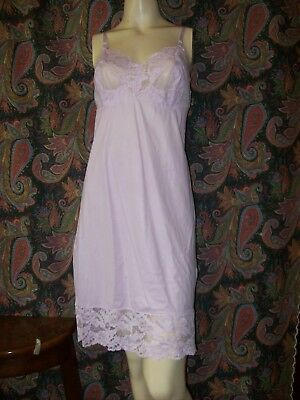 Vintage Vanity Fair Purple Nylon Tricot Lacy Empire Slip Lingerie 38
