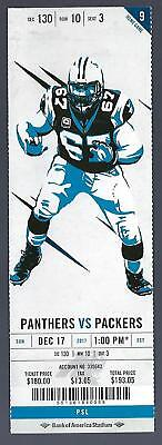 2017 Nfl Green Bay Packers @ Carolina Panthers Full Unused Football Ticket