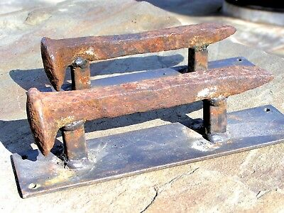 Two old Railroad spike Door Handles or Gate cabinet pulls Set 1