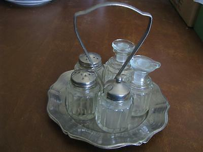 Vintage Castor Set 5 Piece Cruets With Silver Plated Holder English