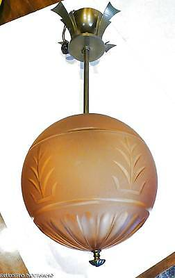 c.1920s ART DECO Hanging Ceiling Frosted Glass Amber Globe Fixture Lamp