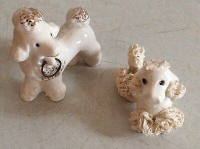 Vintage Pair of Little Ceramic White French Poodles