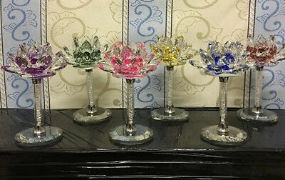Crystal Lotus Flower On Stand Ornament Crystocraft Home Decos Gift_All Colours