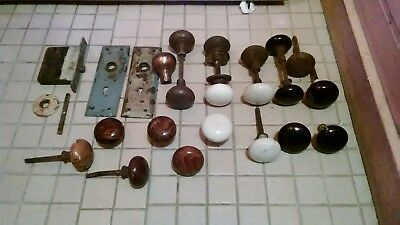Lot of Vintage Antique Brown Porcelain Door Knobs Black White Metal  One is cast