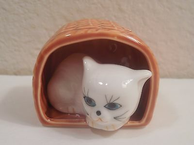 "Old Porcelain Figurine Of A White Cat Resting Inside A Basket ~ 1 3/4"" Tall"