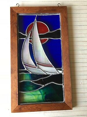 "Vintage Stained Glass Sailboat Window Suncatcher w/Wooden Frame, 10"" x 20"" Image"