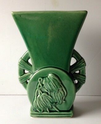 Vintage McCoy Pottery Green Vase With Spoke Handles And Raised Floral Motif EUC