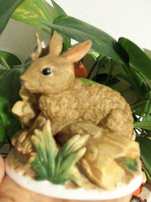 Homco Bisque Brown Rabbit Hopping Over Log #1411 Ready For Easter