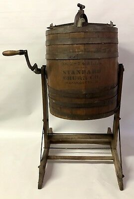 Antique 7 Gallon Butter Standard Churn Co No. 2 Wood Barrel Wapakoneta w/ Stand