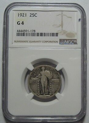 = 1921 NGC G4 STANDING Quarter, Nice Color, Key Date, FREE Shipping
