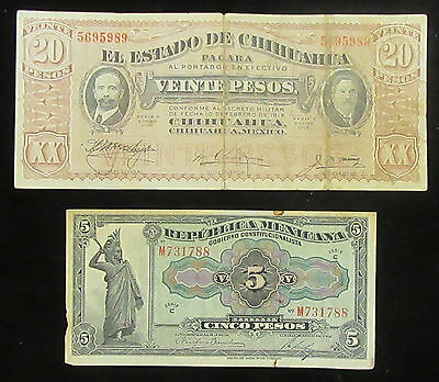 Lot of 2 Mexico 1915 Revolution 5 and 20 Peso Notes * Old Mexico Currency