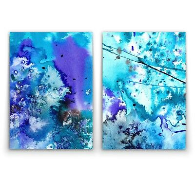 ABSTRACT WATERCOLOUR BLUES - 2 x Wall Art Print Canvas - On Trend